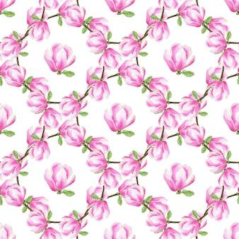 水彩マグノリアのシームレスなパターン。ファッションのピンクの花のテクスチャ。包装、布地、テキスタイル、壁紙、パッケージデザインに使用できます。