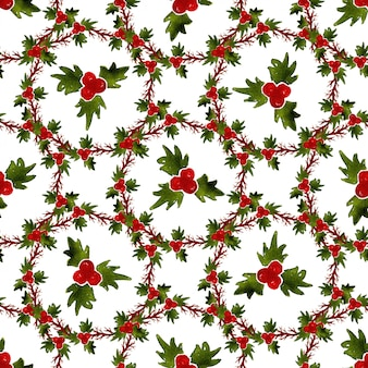 ヤドリギと水彩のクリスマスのシームレスなパターン。ラッピングとファブリックのデザインに使用できます