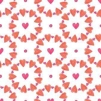 バレンタイン・デー。水彩のかわいい心のシームレスなパターン。