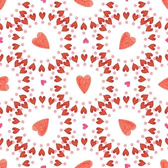 バレンタインデーの背景。水彩の赤いハートのシームレスパターン。ロマンチック