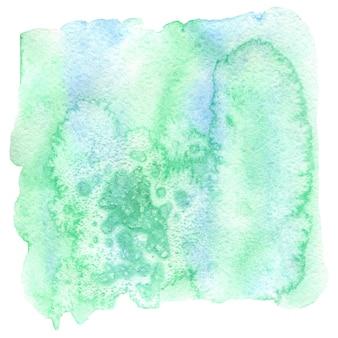 抽象的な水彩画の手描きの背景。ミントとブルーの色