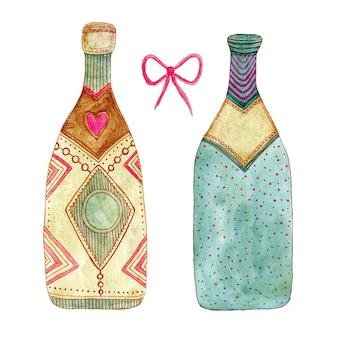 Акварельная бутылка шампанского