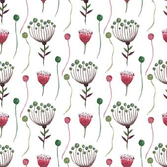 水彩花柄シームレス。ラッピング、テキスタイル、壁紙、パッケージデザインに使用できます。