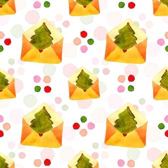 新年の木と手紙の包装紙。水彩のシームレスパターン