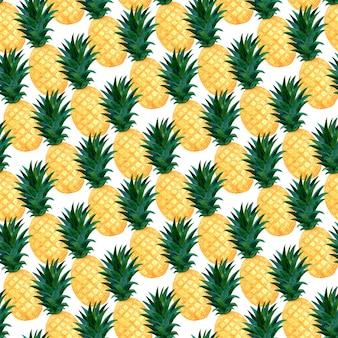 Акварельные ананасы бесшовные модели. модные летние обои