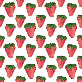 水彩イチゴパターン。