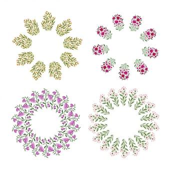 水彩花のフレームコレクション。