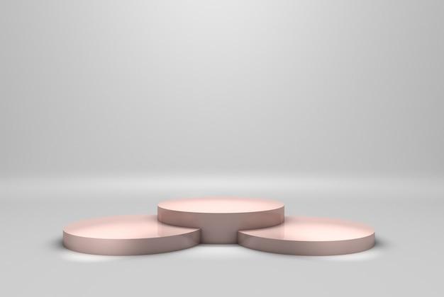 モダンな表彰台または白い背景の上のプラットフォームの概念と台座