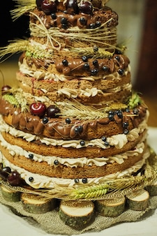 フルーツビスケット多色ウェディングケーキ