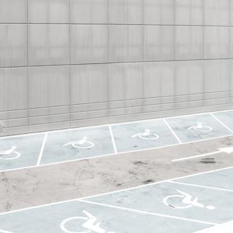 アスファルトの上のアクセシビリティ駐車ライン