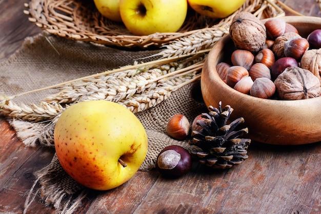 Урожай яблок и орехов