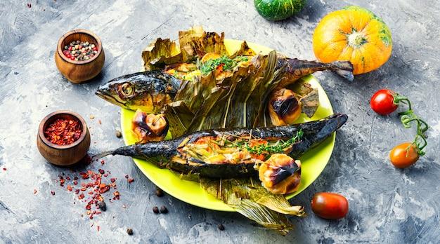 Запеченная рыба с тыквенной начинкой
