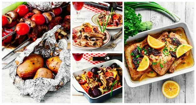 春のピクニックのための肉料理