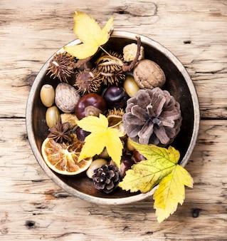 象徴的な秋の生け花