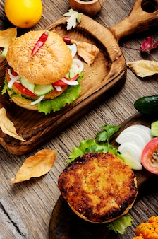 ダイエットハンバーグと野菜