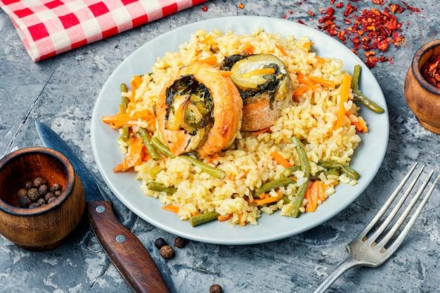 シーフードと野菜のご飯
