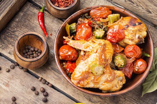 野菜のオーブン焼きチキン