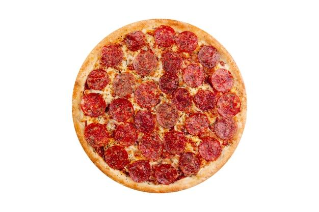 白い背景で隔離のピザ。ホットファーストフード