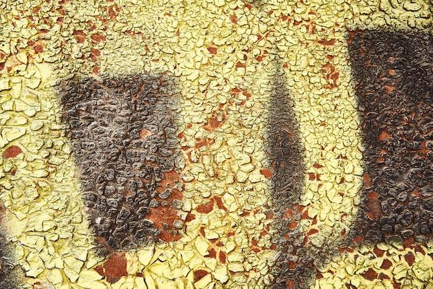 背景錆テクスチャ。グランジスタイルでハード古い塗られた壁。クローズアップビュー