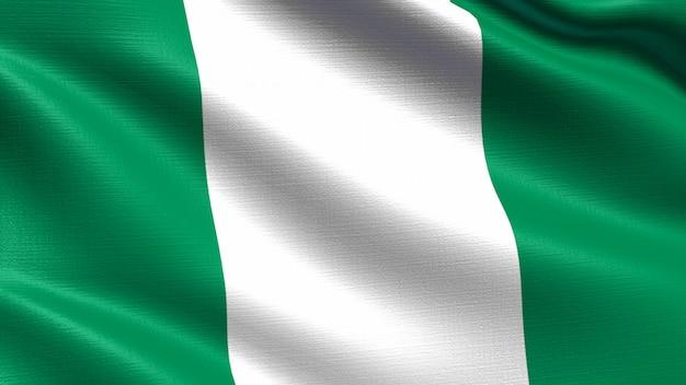 Флаг нигерии, с развевающейся текстурой ткани