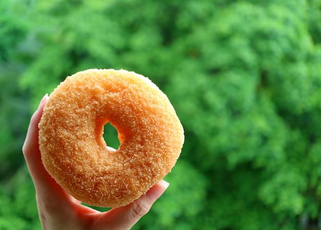 背景にぼやけて鮮やかな緑の大きな木と砂糖シナモンドーナツを持つ女性の手のクローズアップ
