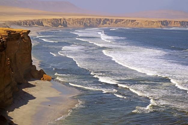 南アメリカ、ペルーのイカ地方、砂漠が海と出会うパラカス国立保護区