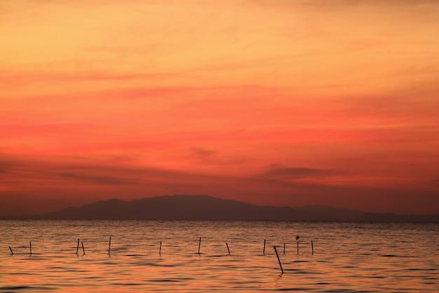 ポールにとまる鳥のシルエットと海の上の鮮やかなオレンジ色の日の出の空