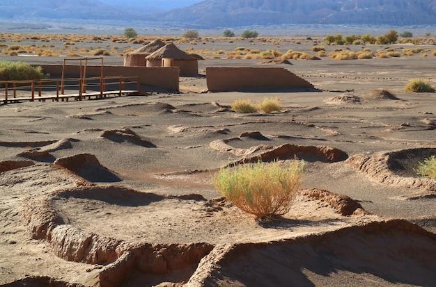 チリ、チリ北部のサンペドロアタカマ近くの古代の村の遺跡