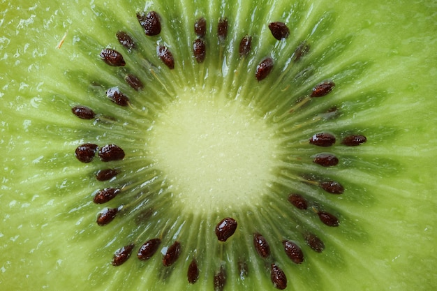 緑の新鮮でジューシーなキウイフルーツの断面