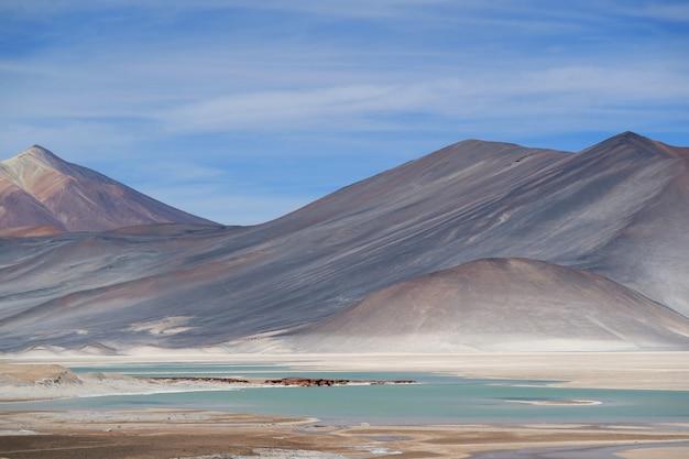 チリ北部アンデス山脈の信じられないほどのセロメダノ山とタラー湖塩湖