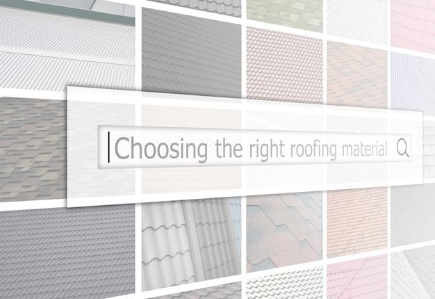 さまざまなタイプの屋根ふきの断片を含む多数の写真のコラージュの背景にある検索バーの視覚化