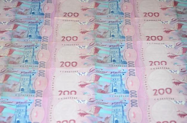 多くのウクライナの通貨紙幣のパターンのクローズアップ