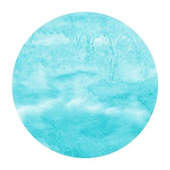 ライトブルーの手描き水彩円形フレームの背景テクスチャと汚れ