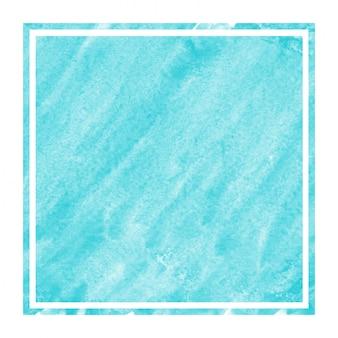 ライトブルーの手描き水彩の長方形フレームの背景テクスチャと汚れ