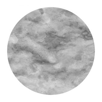 モノクロの手描き水彩円形フレーム