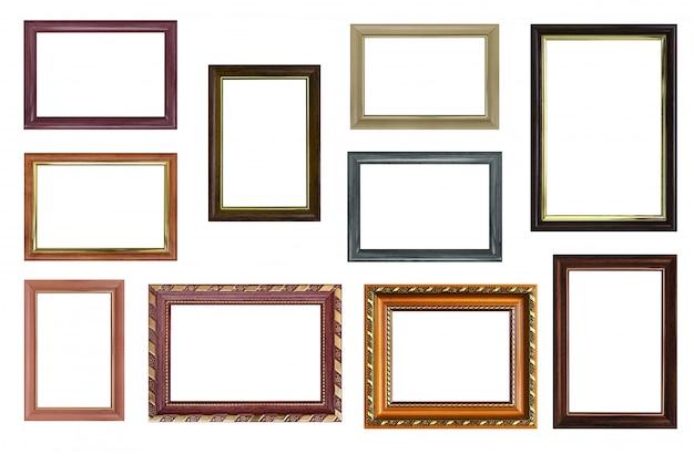 Набор пустых рамок для фотографий со свободным пространством внутри, изолированных на белом
