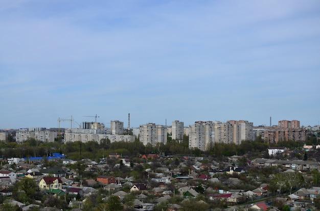 鳥瞰図からハリコフ市内の工業地区の風景
