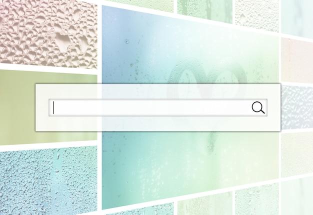 検索フィールドは、凝縮物からの雨滴で飾られ、中心部に塗られたハートで飾られた、ガラスのさまざまな断片のコラージュの上にあります。