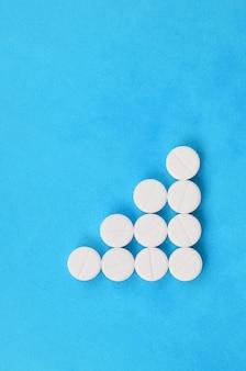 明るい青の背景にいくつかの白い錠剤