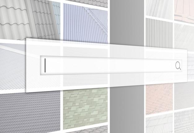 多くの写真のコラージュの背景にある検索バーの視覚化