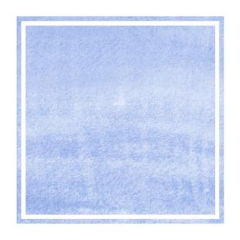 青い手描きの水彩画の長方形フレームの背景テクスチャの汚れ