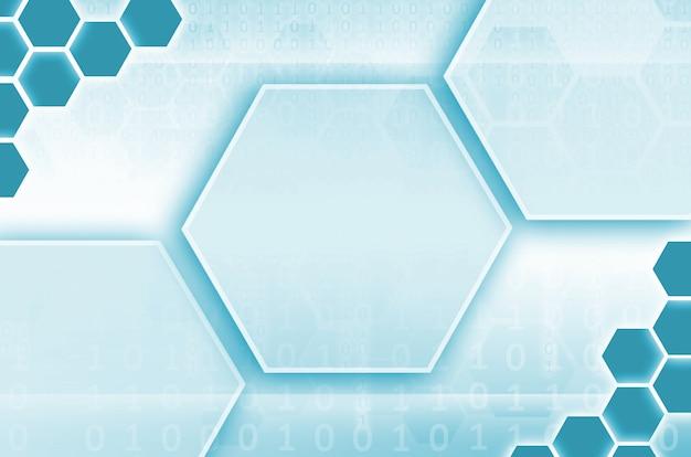 六角形と青い色で他の幾何学的図形のセットから成る抽象的な技術的背景