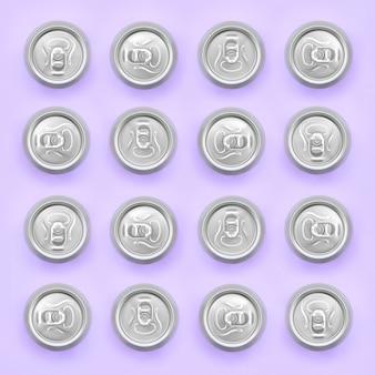 Многие металлические пивные банки на фоне текстуры моды пастельных фиолетовых
