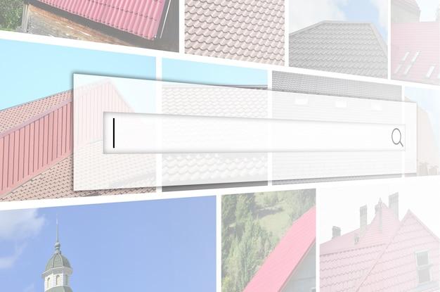 さまざまなタイプの屋根ふきの破片が付いている多くの写真のコラージュ。