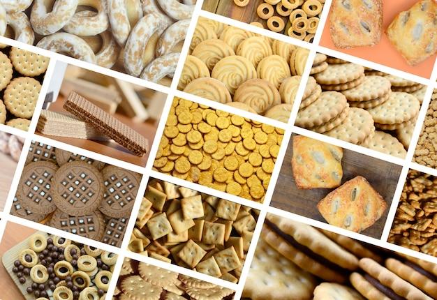 様々なお菓子のクローズアップとたくさんの写真のコラージュ。