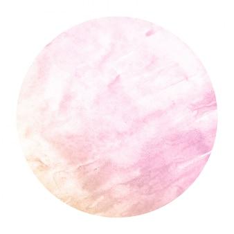 ピンクとオレンジの手描きの円形フレームの水彩画