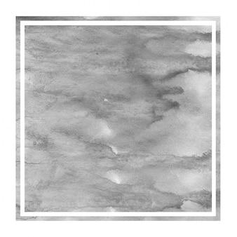 モノクロの手描きの水彩画の長方形フレームの背景テクスチャ、汚れ