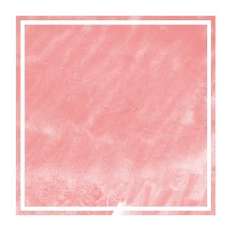 赤い手描き水彩の長方形フレームの背景テクスチャの汚れ