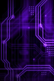 物理的なマザーボードのようなものを形成する多数の明るい誘導線と点から成る抽象的な技術的背景。紫色