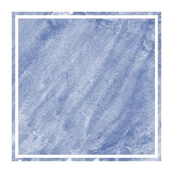 ダークブルーの手描き水彩の長方形フレームの背景テクスチャと汚れ